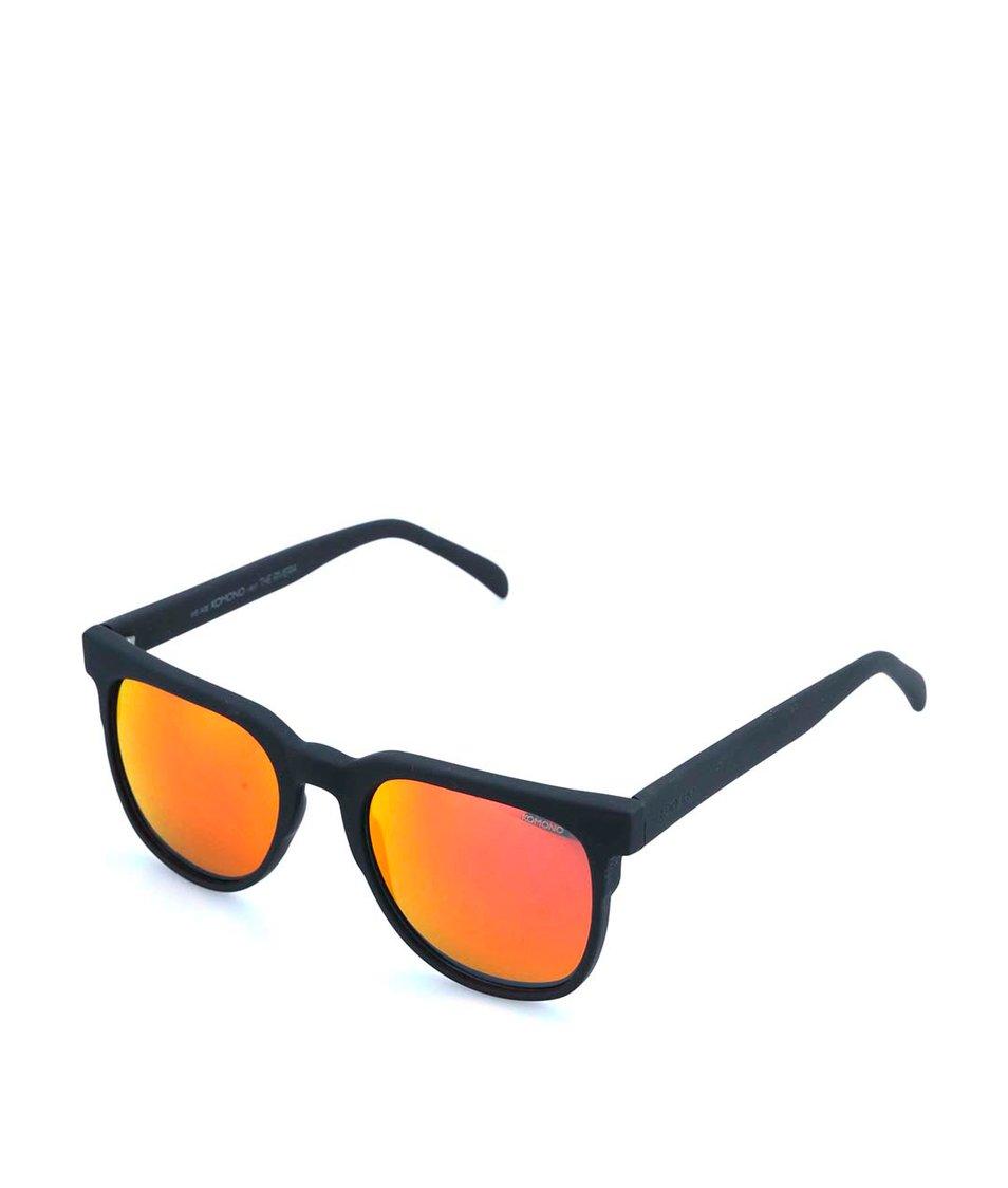 Černé unisex sluneční brýle s oranžovými polarizačními skly Komono Riviera