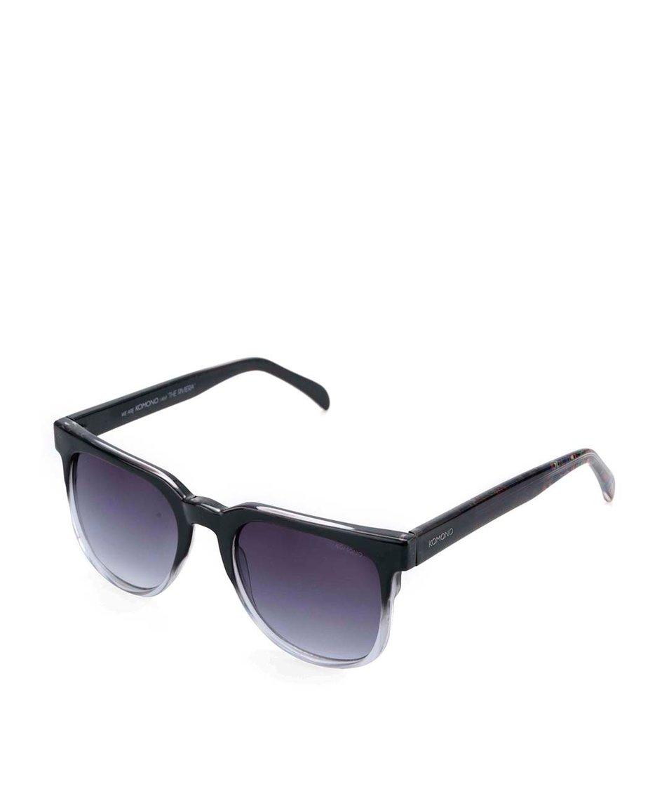 Šedo-černé unisex sluneční brýle Komono Riviera
