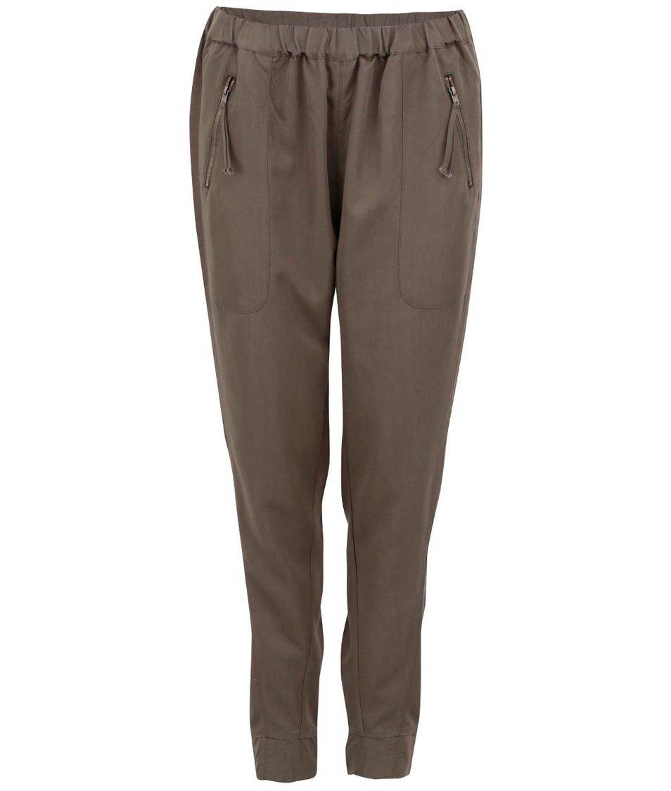 Khaki volnější kalhoty Vero Moda Indi