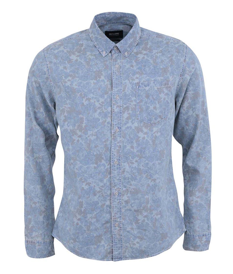 Modrá džínová košile s potiskem ONLY & SONS Vamsi