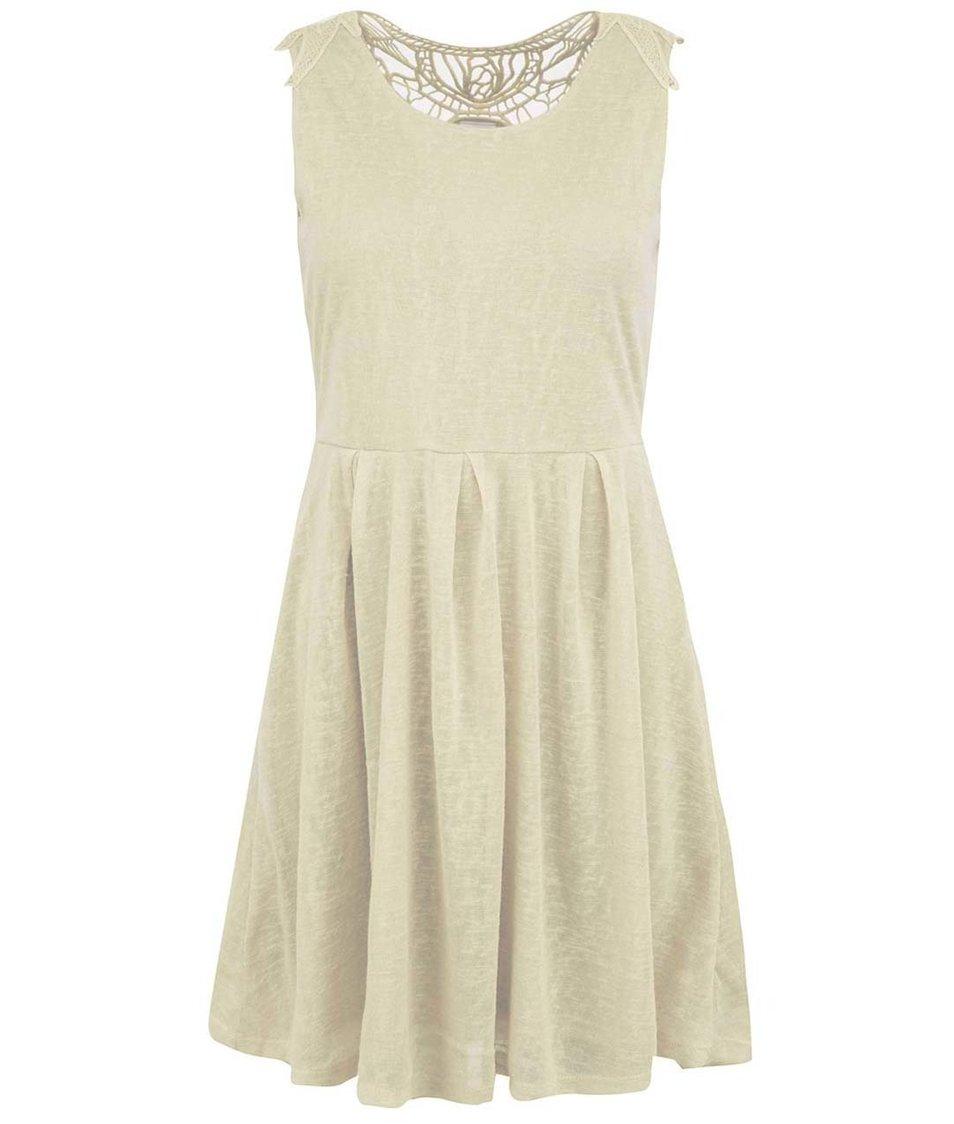 Béžové šaty s krajkovým detailem na zádech Vero Moda Juicy