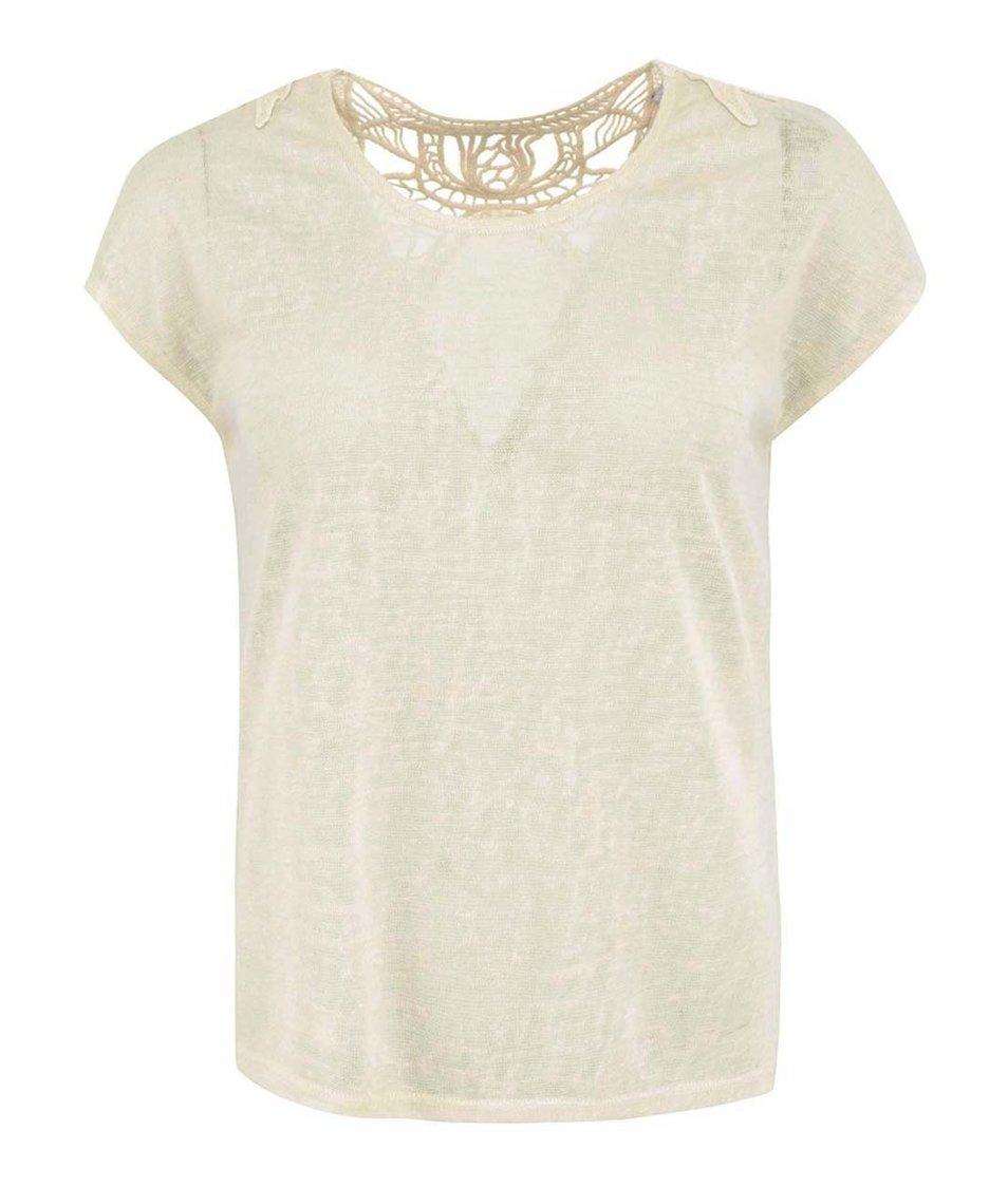 Béžový top s krajkovým detailem Vero Moda Juicy
