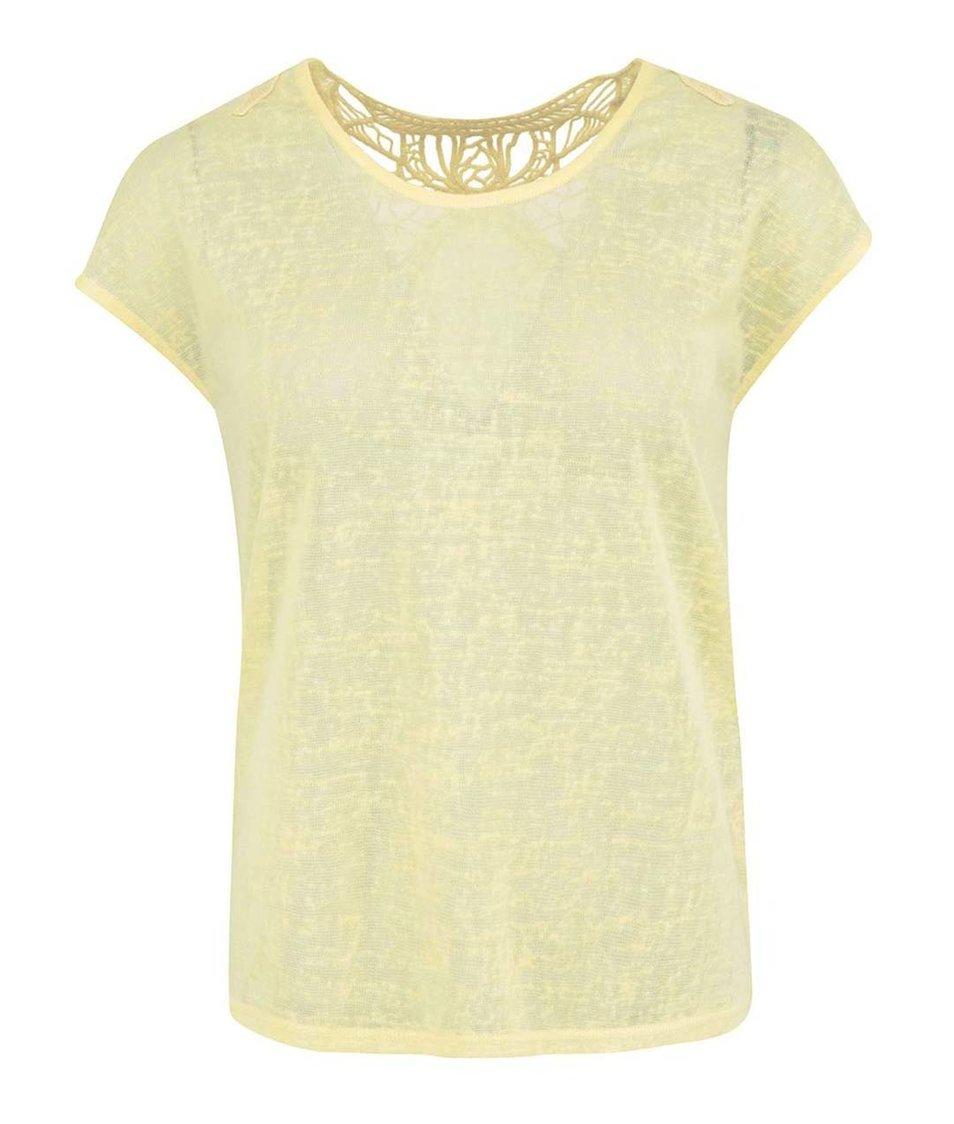 Žlutý top s krajkovým detailem Vero Moda Juicy