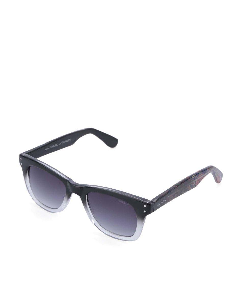 Šedo-černé unisex sluneční brýle Komono Allen