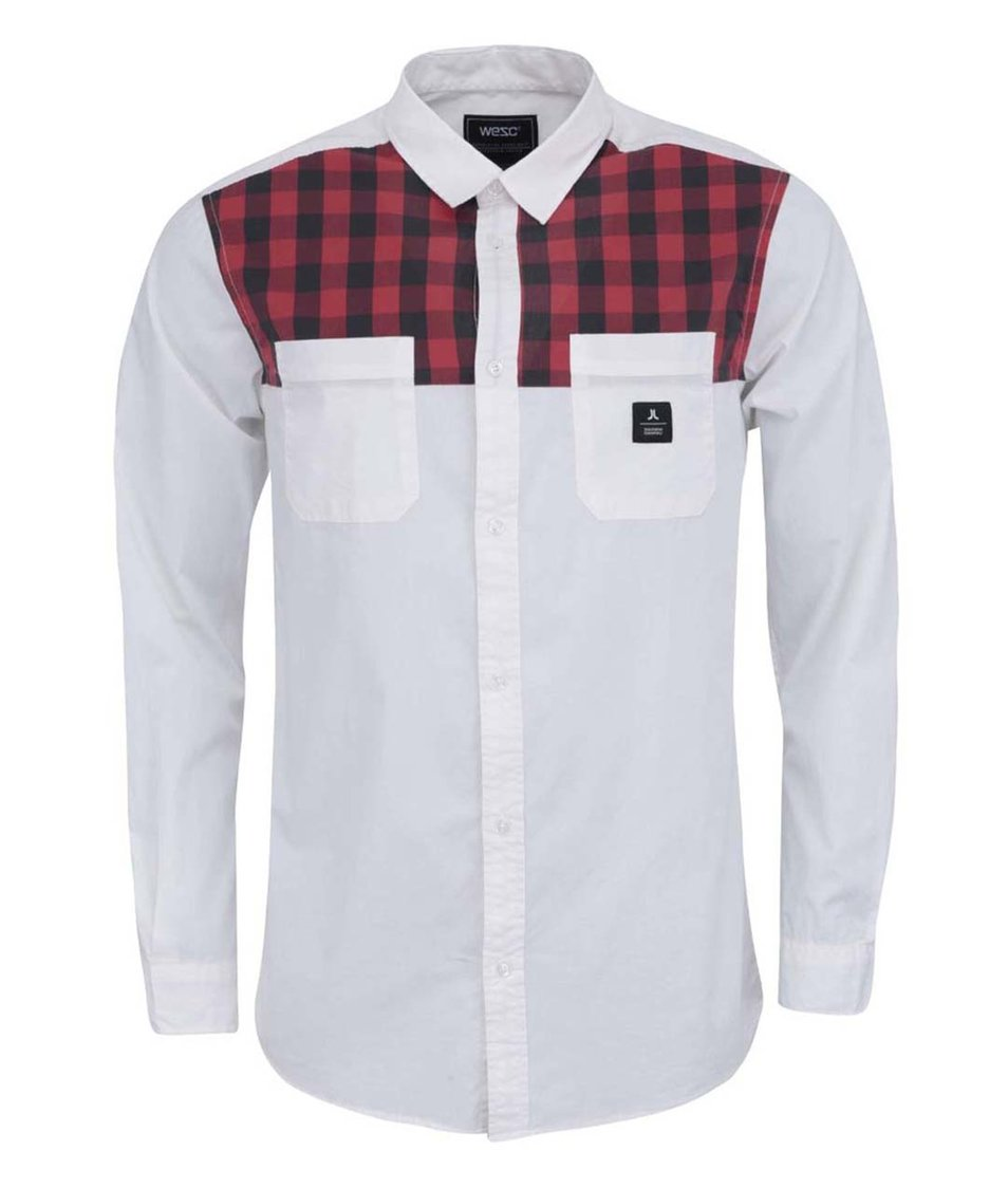 Bílá košile s červeno-černým kostkovaným sedlem WeSC Kayn