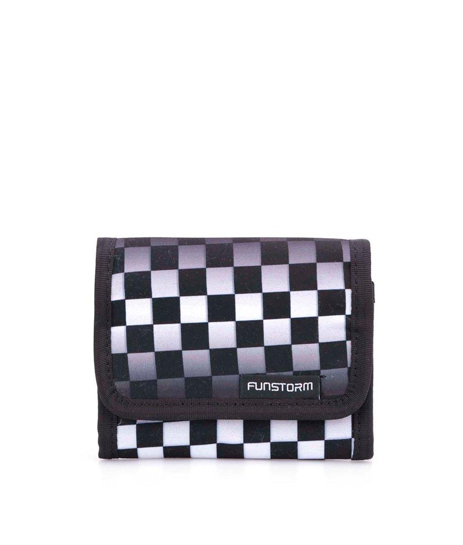 Bílo-černá kostkovaná peněženka Funstorm Tiago