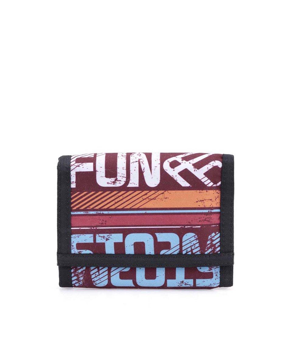 Černo-vínová peněženka s nápisy Funstorm Ram