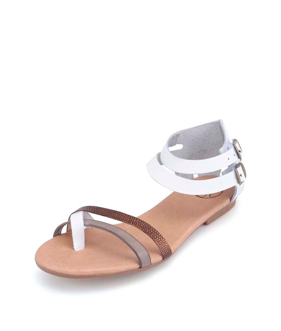Bílé kožené sandálky s hnědými pásky OJJU