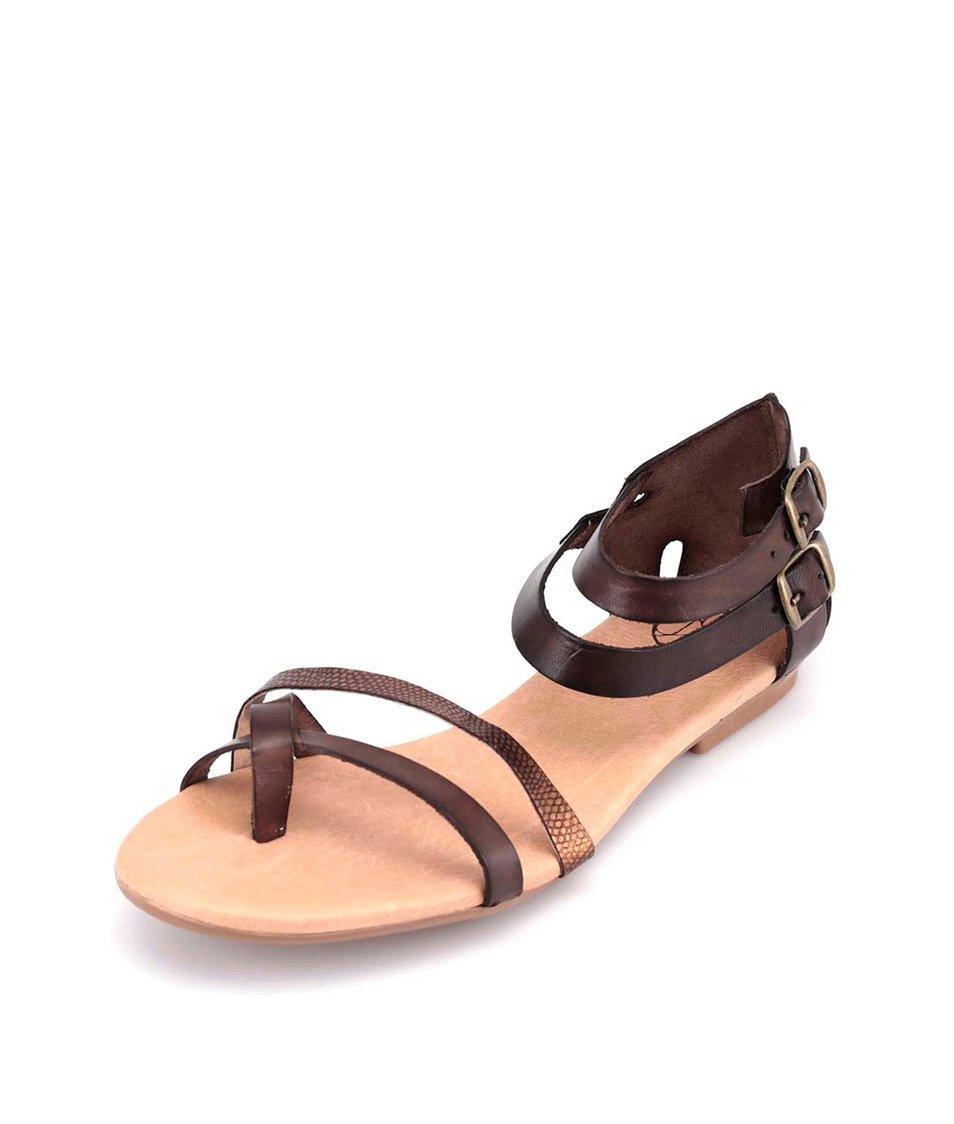 Tmavě hnědé kožené sandálky OJJU