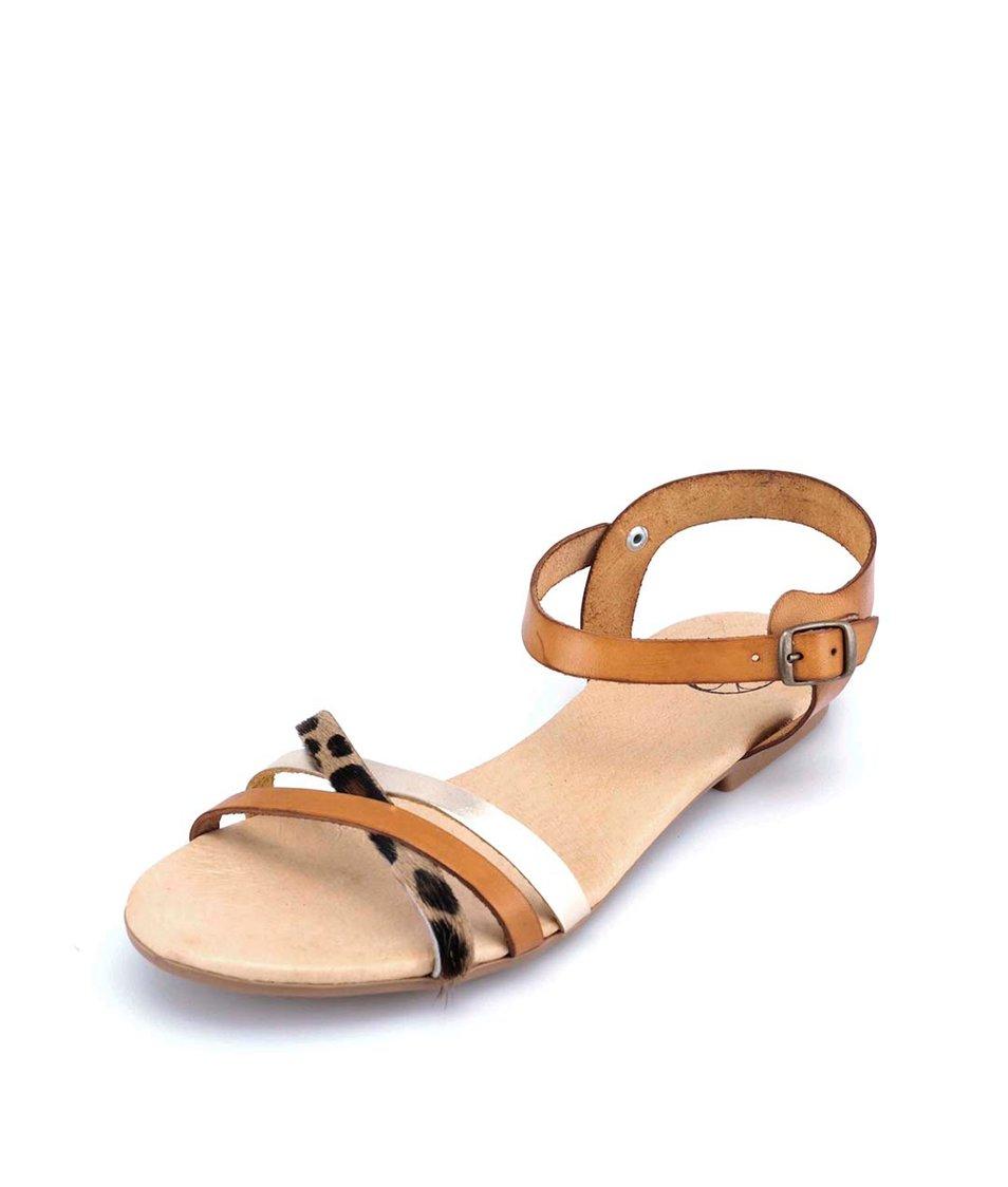 Hnědé kožené sandálky s leopardím a zlatým páskem OJJU
