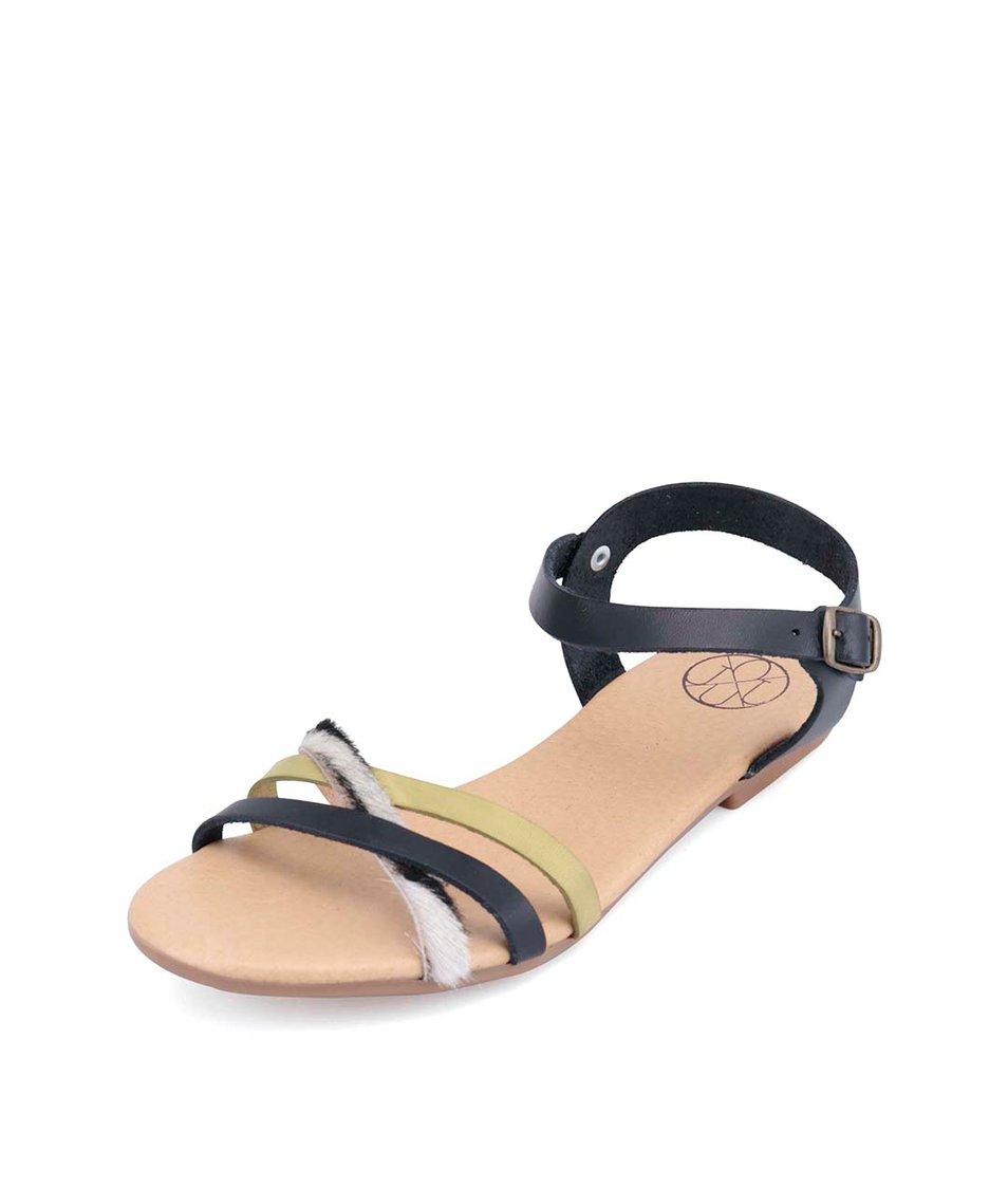 Černé kožené sandálky se zebřím a zeleným páskem OJJU