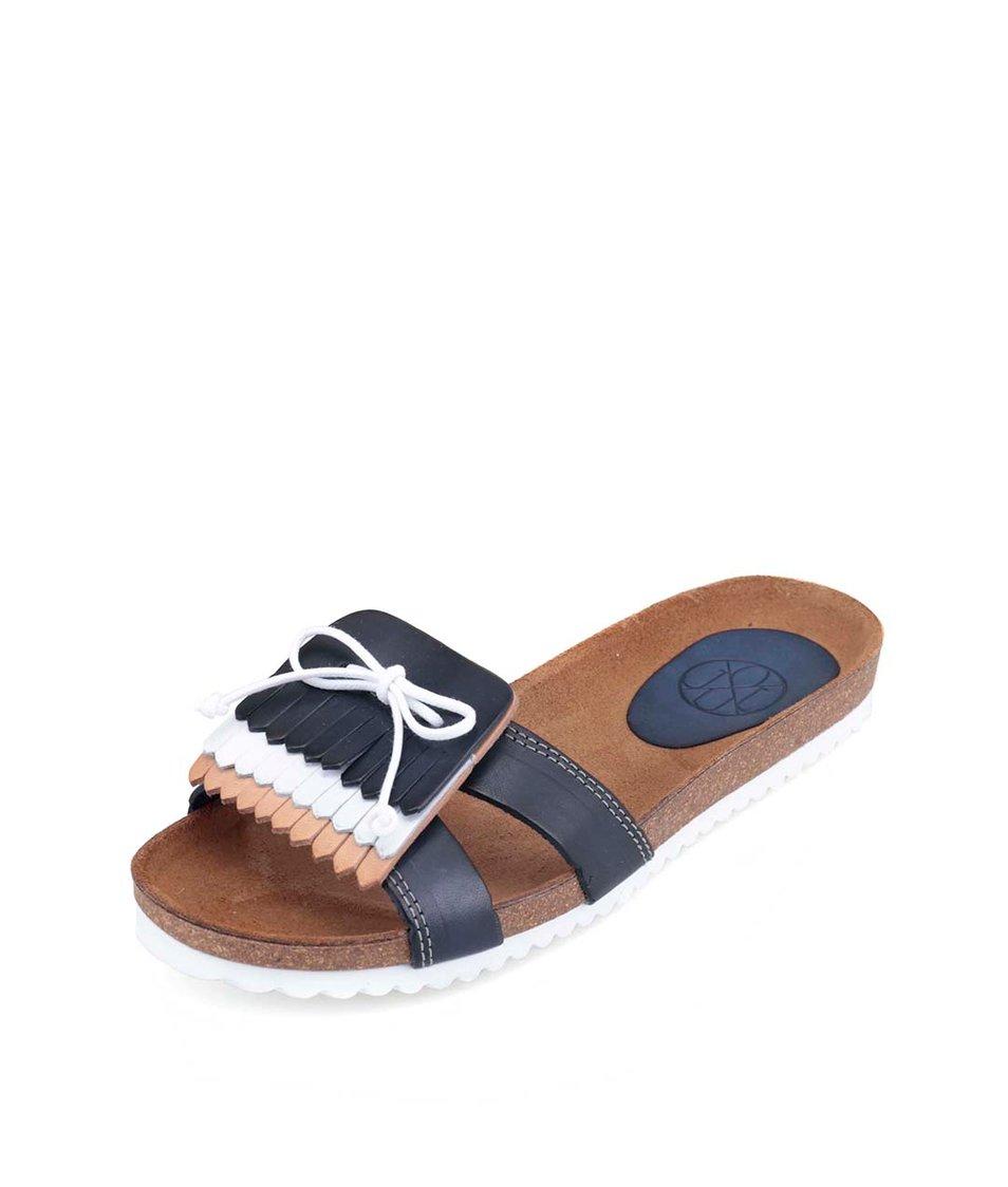 Tmavě modré kožené pantofle s ozdobným páskem OJJU