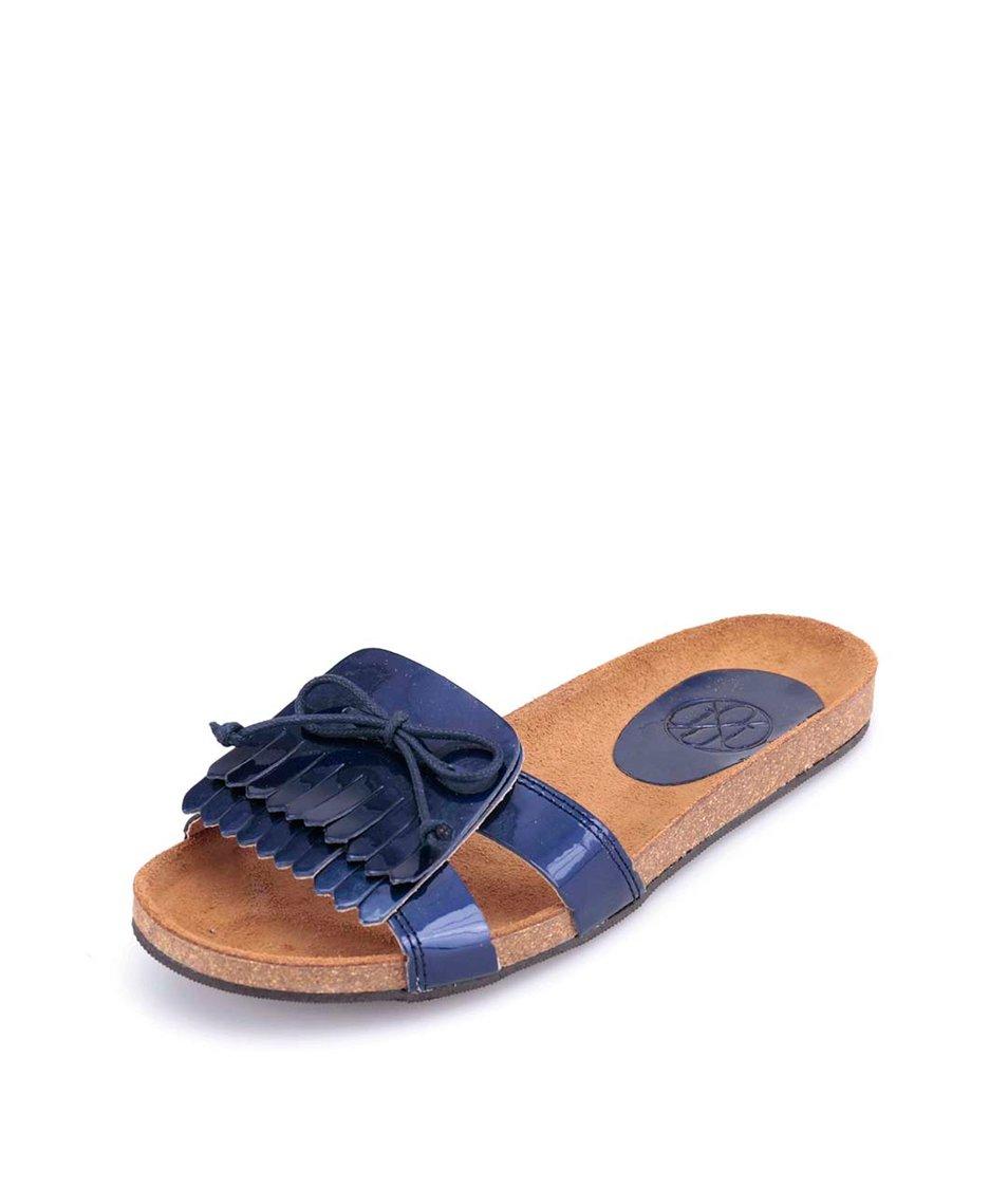 Modré metalické kožené pantofle s ozdobným páskem OJJU