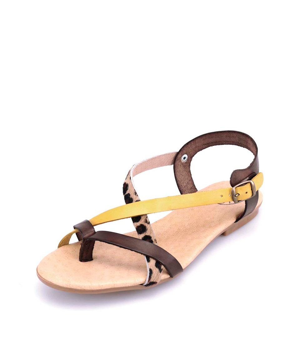 Hnědé kožené sandálky s leopardím a žlutým páskem OJJU