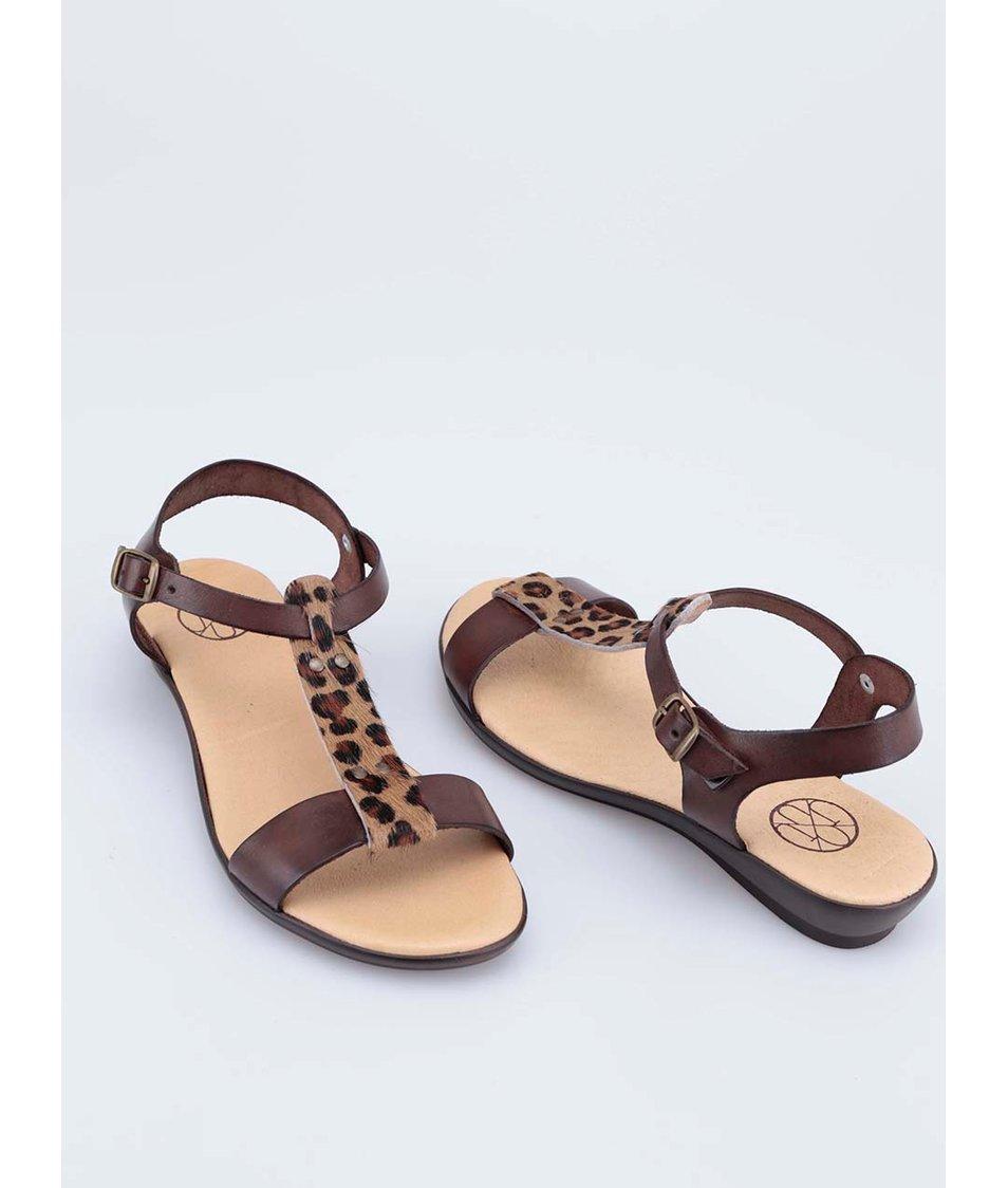 Hnědé kožené sandálky s leopardím páskem OJJU