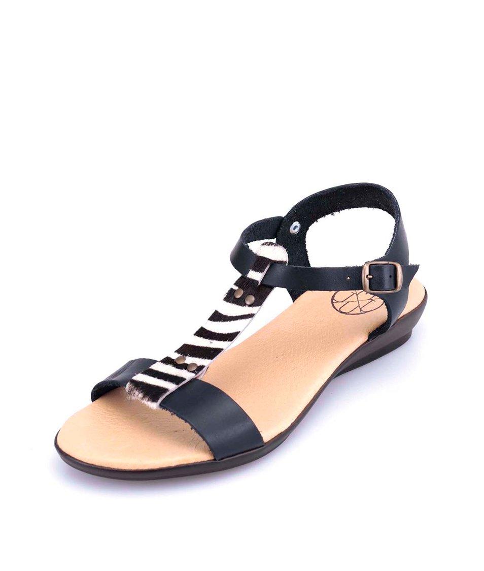 Černé kožené sandálky se zebřím páskem OJJU