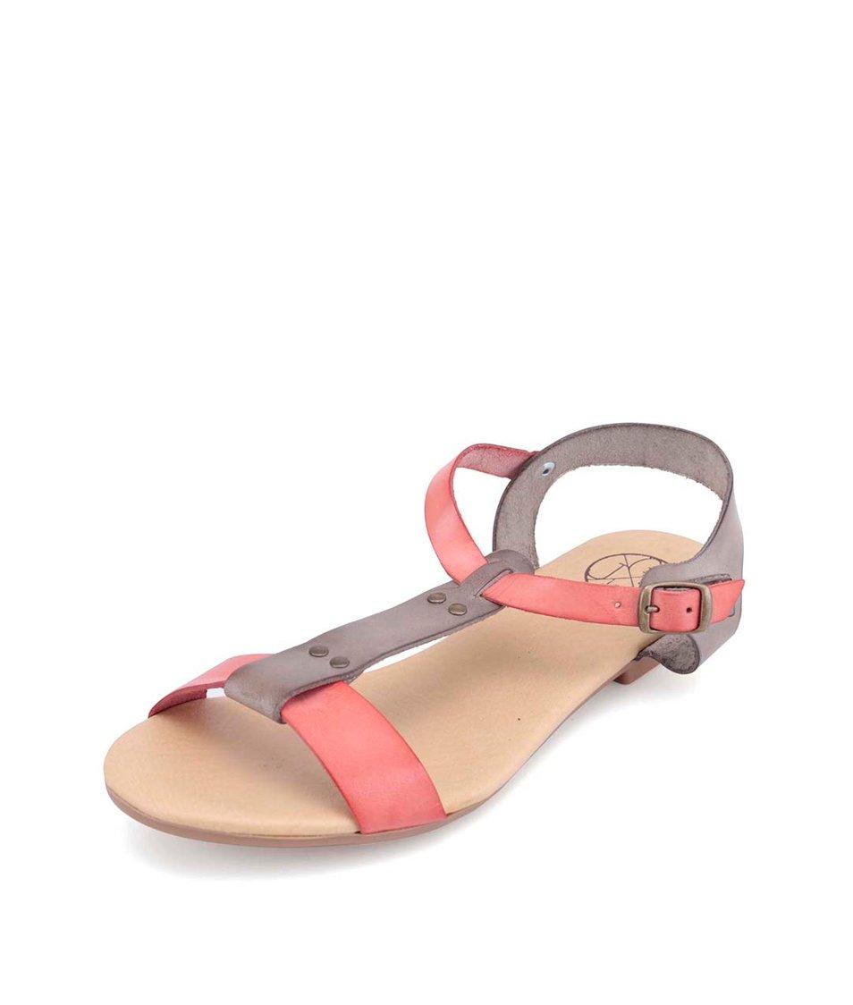Šedo-korálové kožené sandálky OJJU