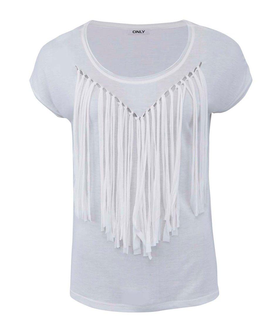 Bílé triko s třásněmi ONLY String Cap