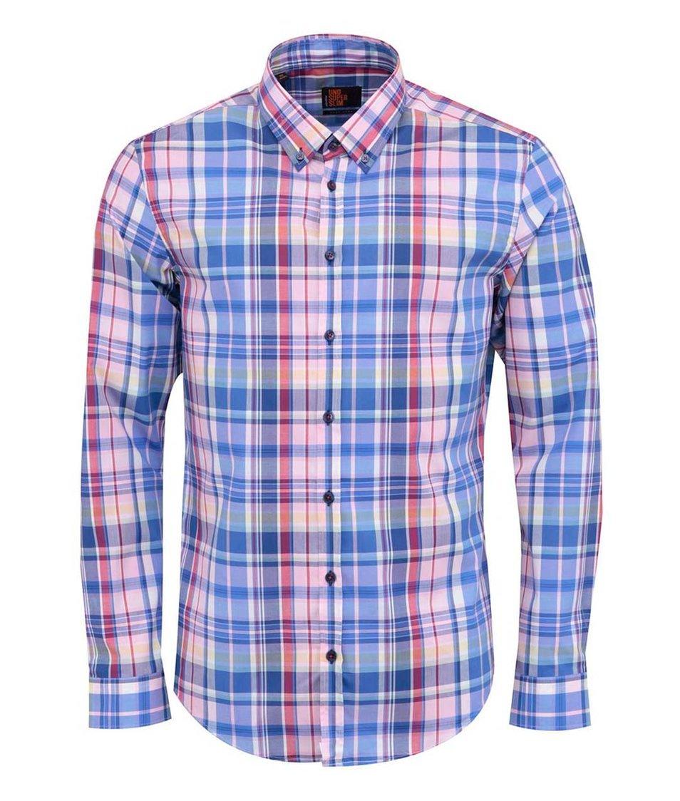 Růžovo-modrá kostkovaná košile Seidensticker BD City Super Slim Fit