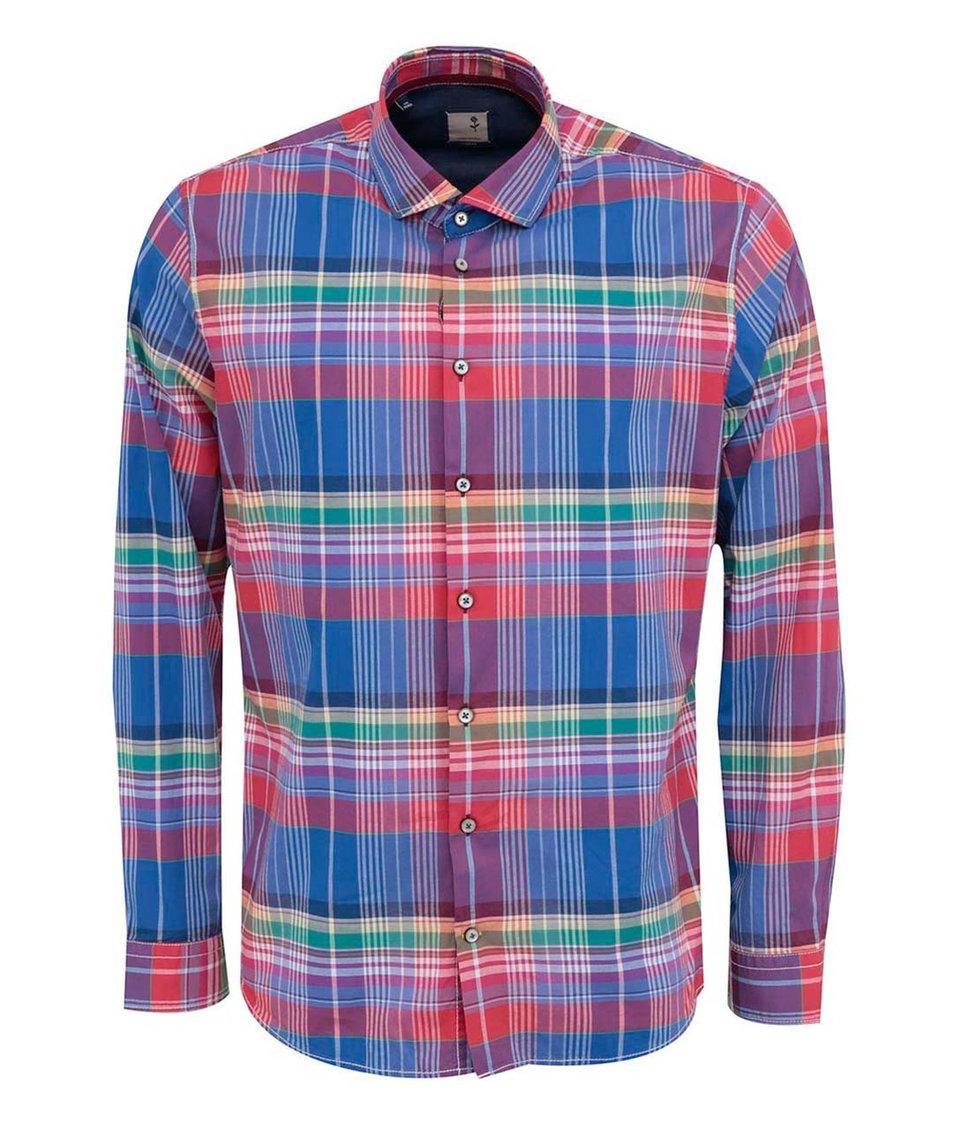 Červeno-modrá kostkovaná košile Seidensticker Clark Slim Fit