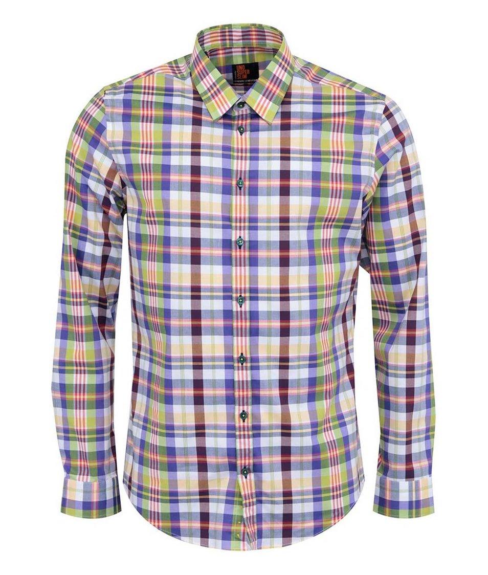 Modro-zelená kostkovaná košile Seidensticker Kent 98 City Super Slim Fit