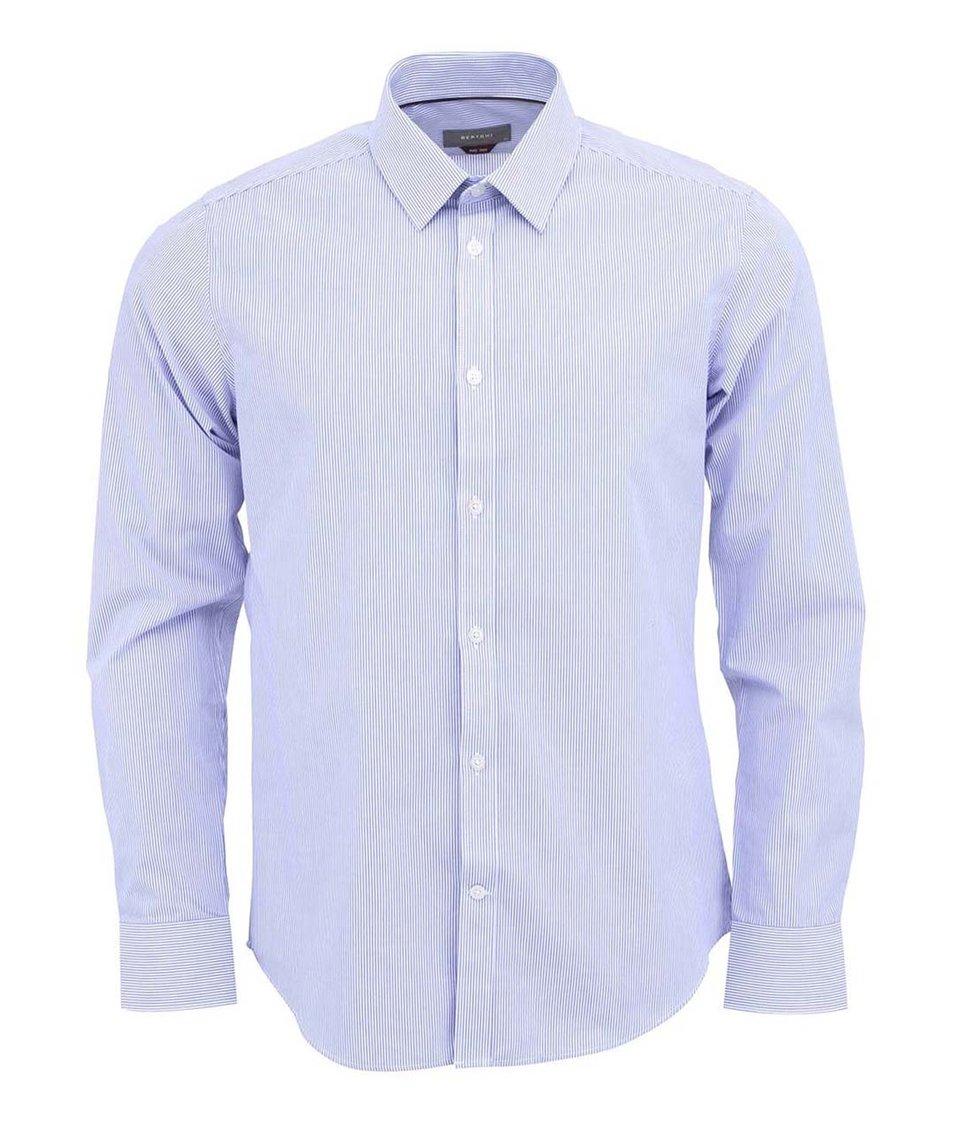 Modrá košile se svislými pruhy Bertoni Slim Fit