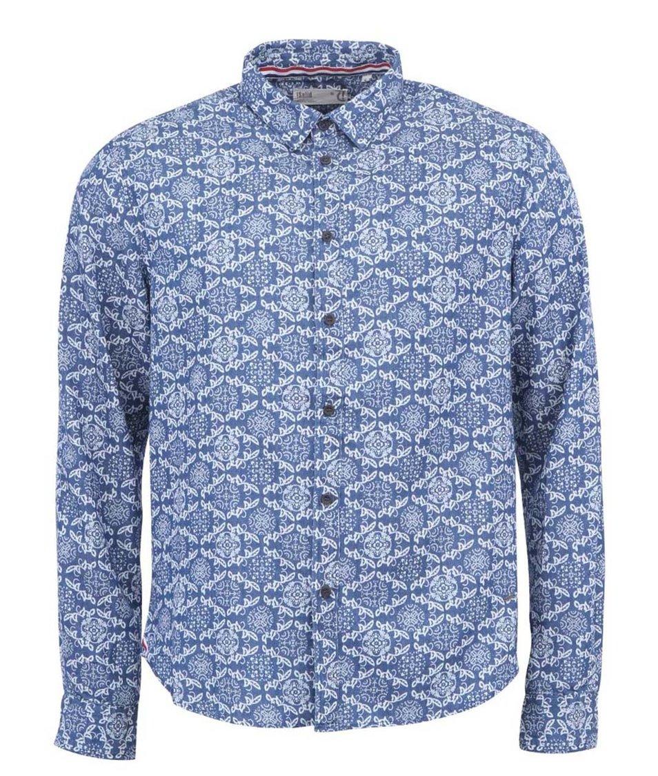 Modrá vzorovaná košile !Solid