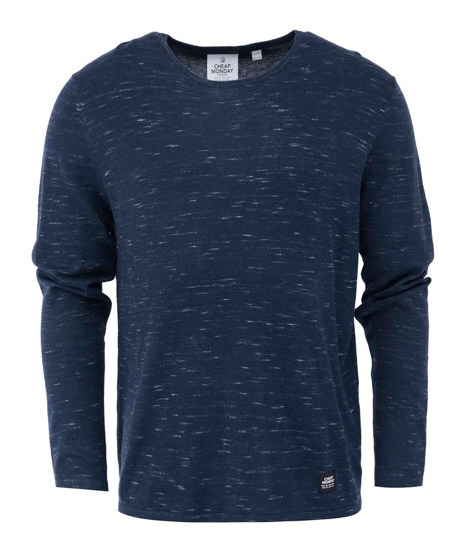 Tmavě modrý pánský žíhaný svetr Cheap Monday Rad knit