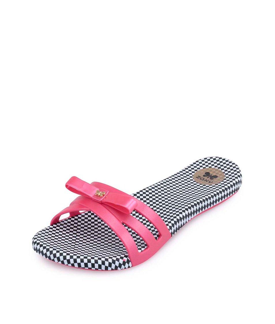 Černo-růžové plastové pantofle s mašličkou Zaxy Like Slide