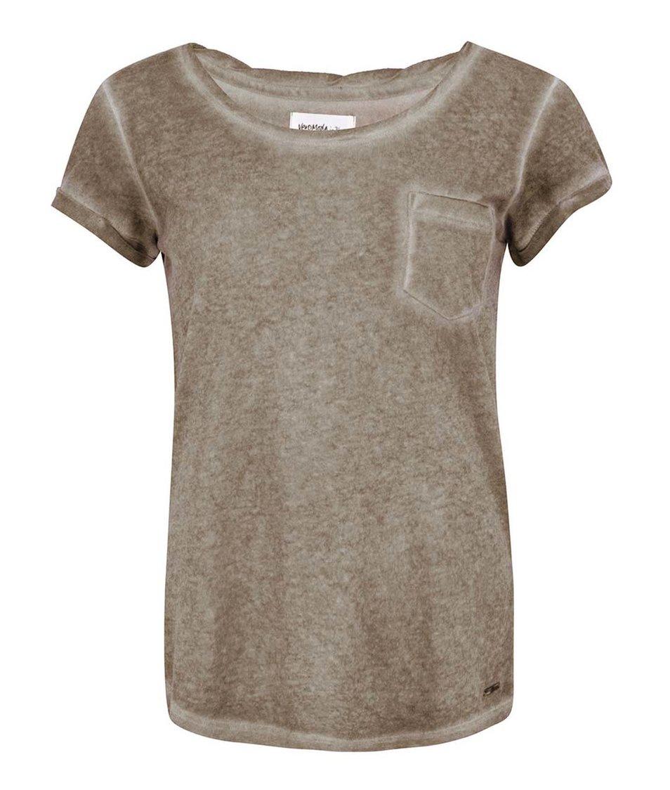 Khaki tričko s kapsičkou Vero Moda Irma