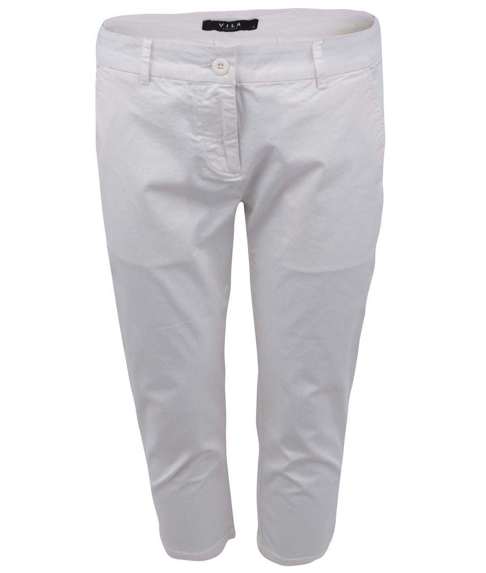 Krémové dámské osminkové kalhoty VILA Viollay