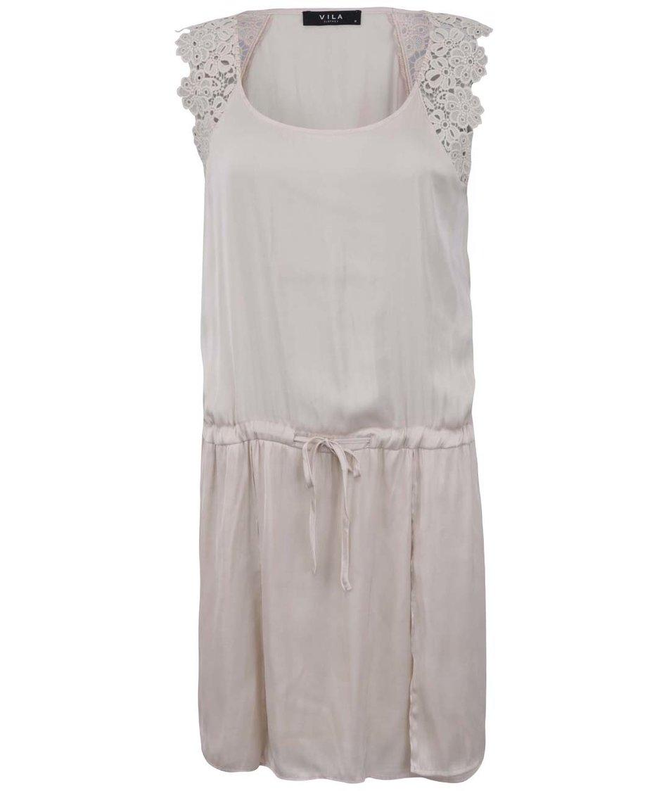 Krémové nabírané šaty s krajkou VILA Vilottina