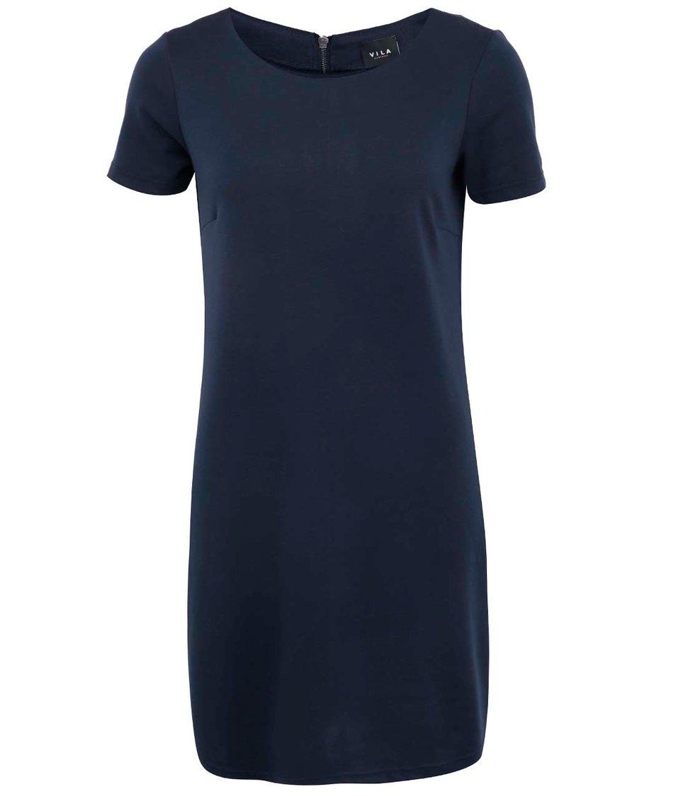 Tmavě modré šaty s krátkým rukávem VILA Tinny