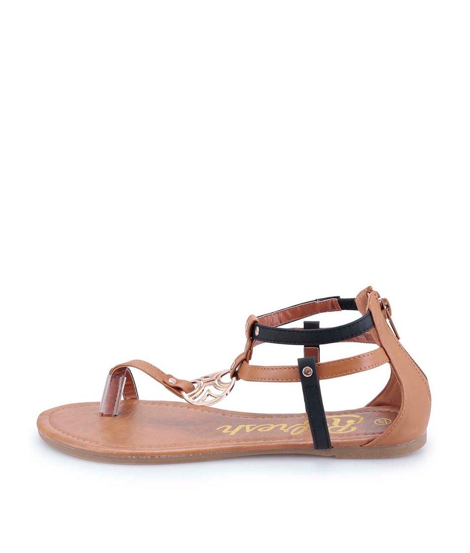Černo-hnědé sandálky s ozdobnou sponou Refresh