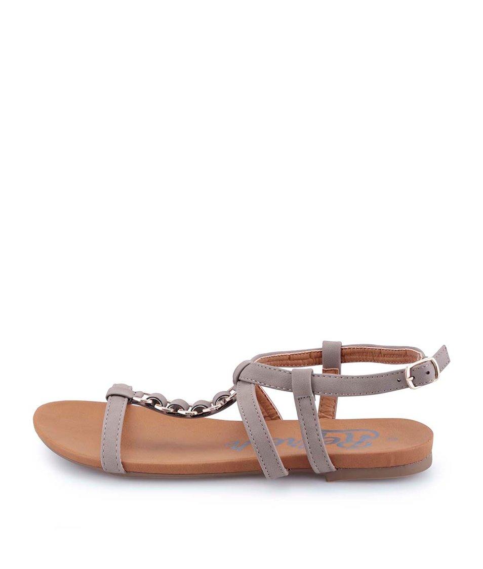 Hnědošedé páskové sandálky Refresh