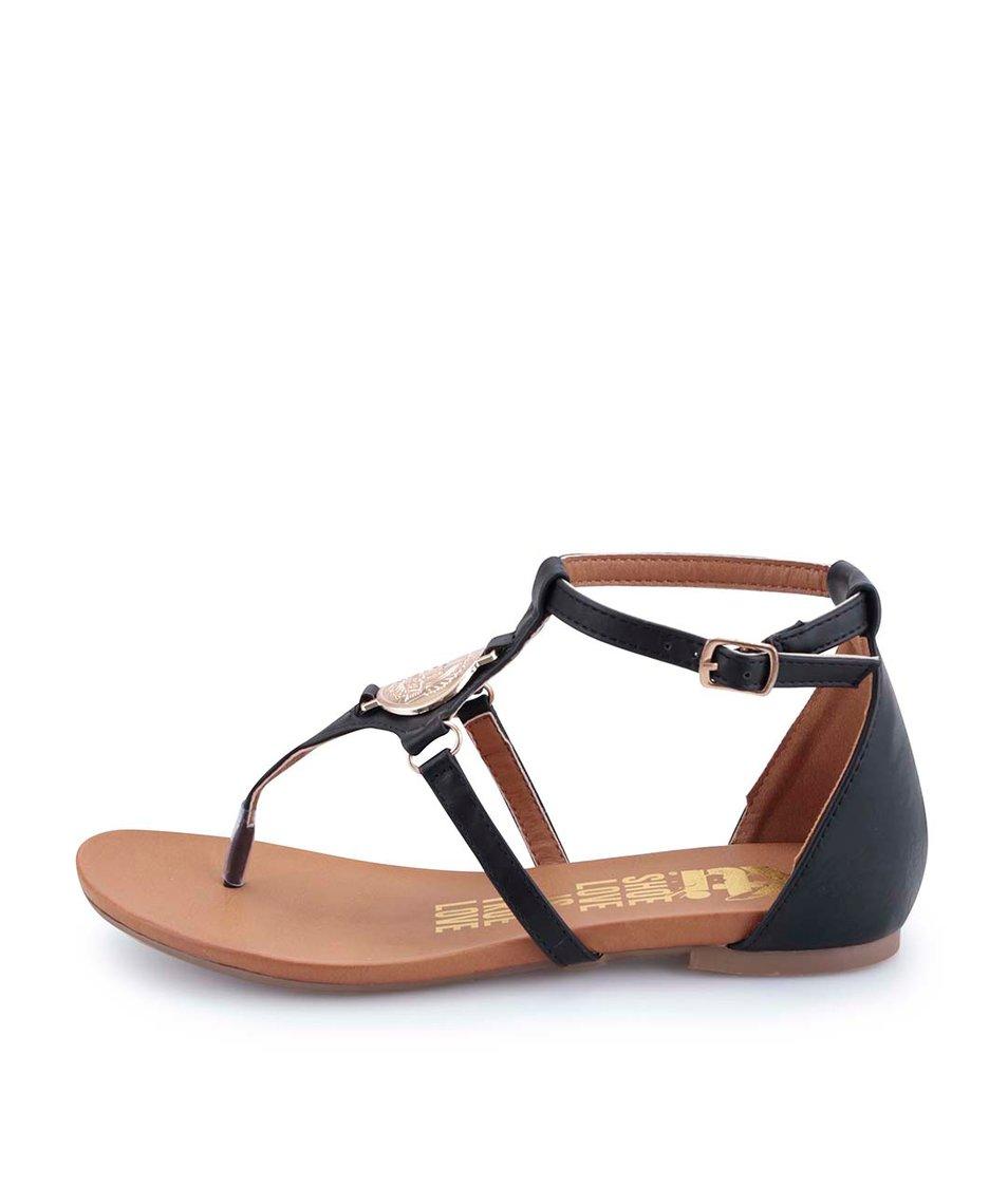 Černé sandálky s mincí ve zlaté barvě Xti