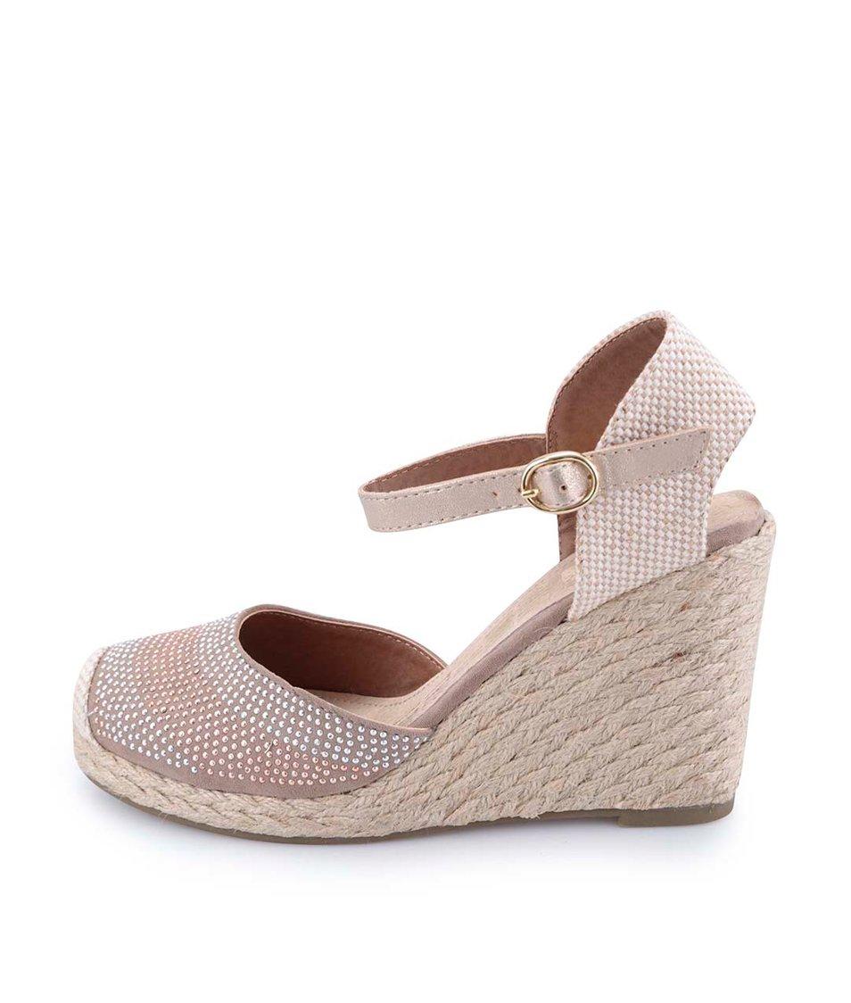 Béžové flitrované sandálky na klínku Xti