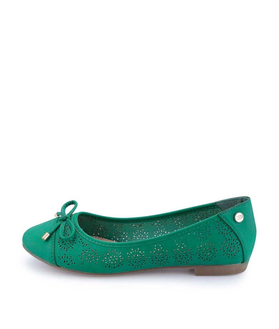 Zelené perforované balerínky s mašličkou Xti