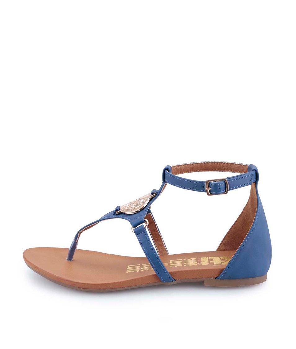 Modré sandálky s mincí ve zlaté barvě Xti