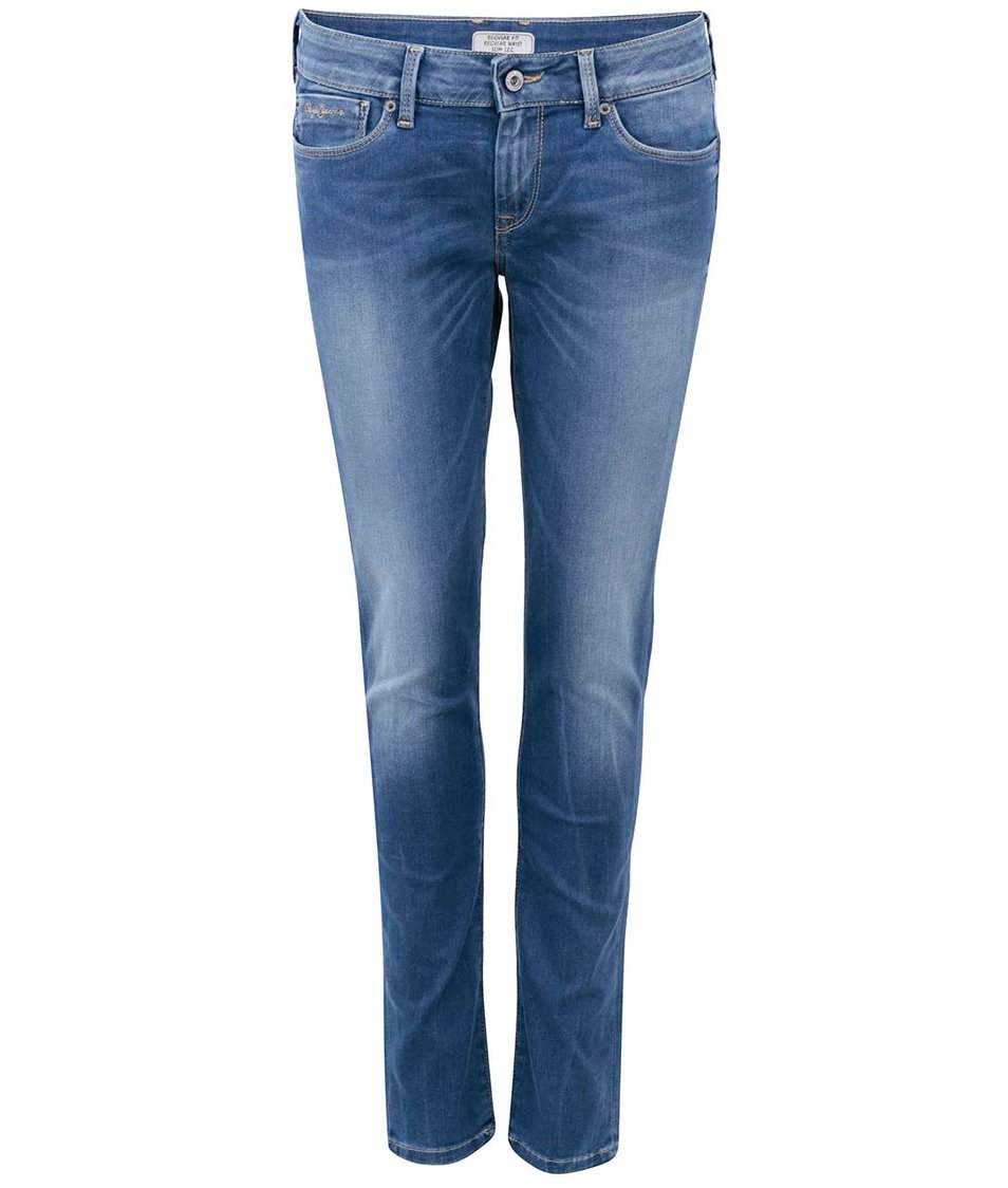 Modré dámské džíny s vyšisovanými pruhy Pepe Jeans Soho
