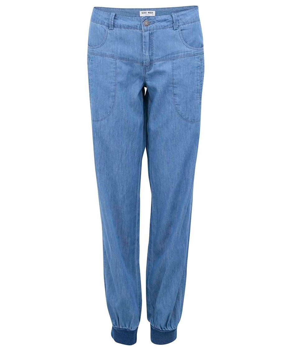 Modré deminové volné kalhoty Vero Moda Just Mojo