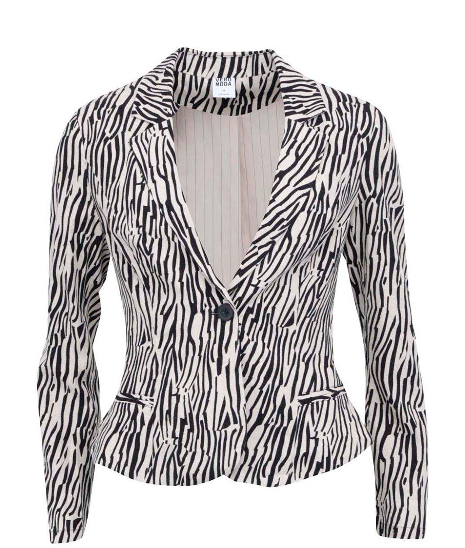 Béžové sako se zebřím vzorem Vero Moda Just Alana