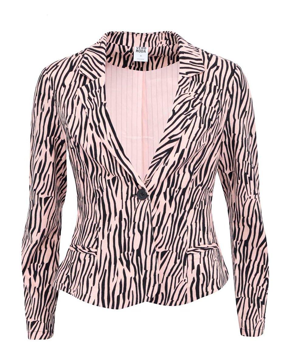 Meruňkové sako se zebřím vzorem Vero Moda Just Alana