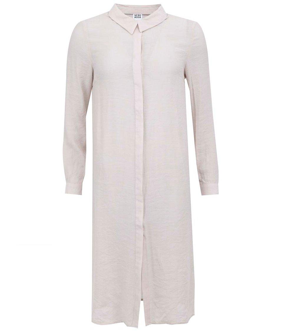 Béžová dlouhá košile Vero Moda Rule