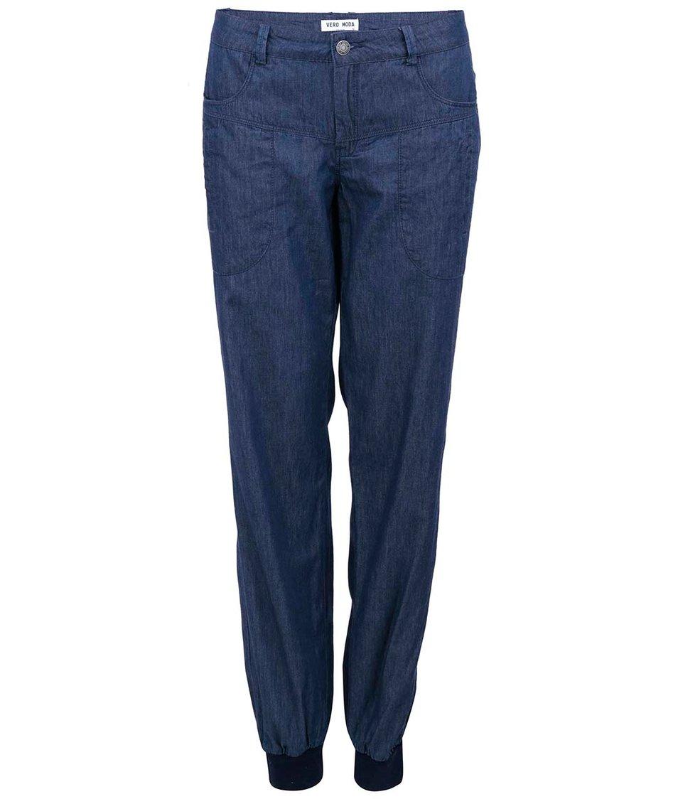 Tmavě modré denimové volné kalhoty Vero Moda Just Mojo