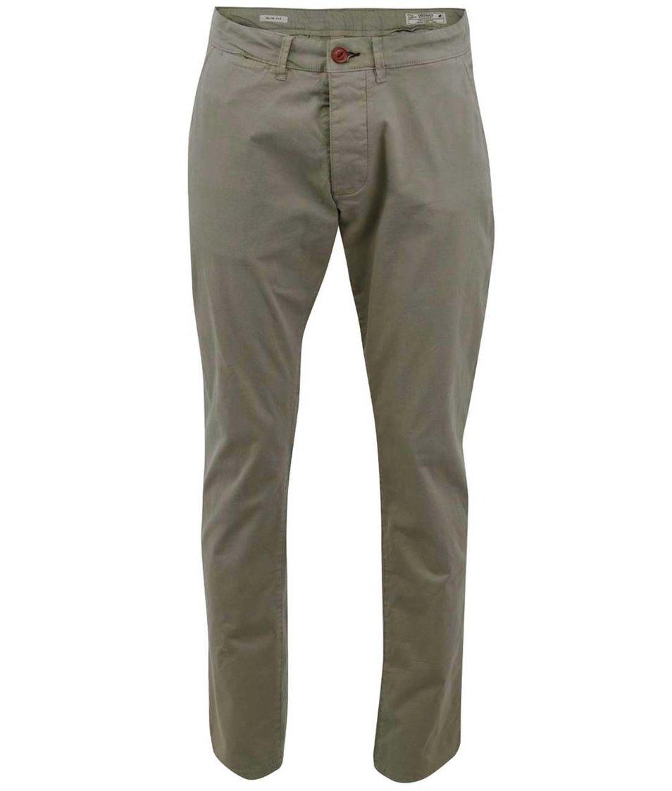 Šedozelené úzké kalhoty Jack & Jones Bolton
