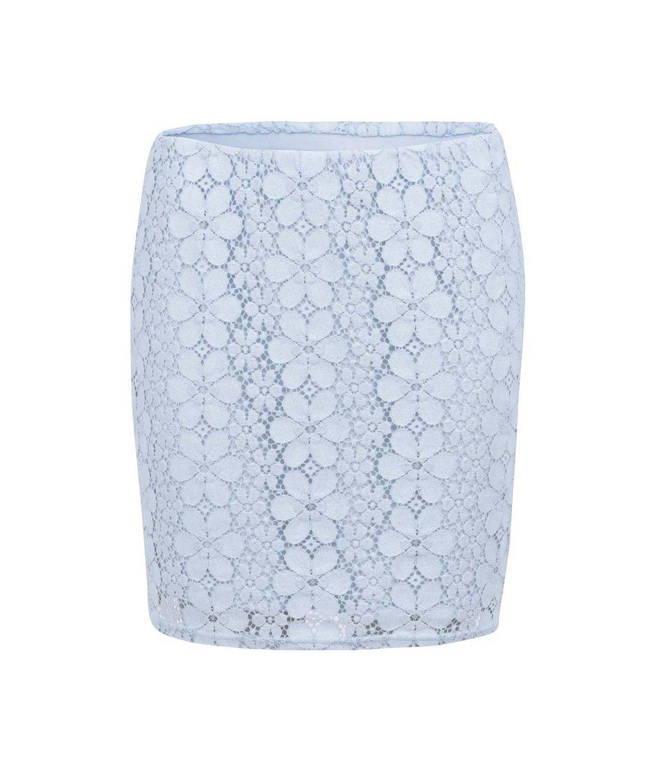 Světle modrá krajkovaná sukně Vero Moda Flora