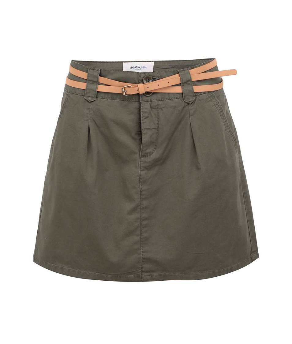 Khaki sukně s páskem Vero Moda New Boline