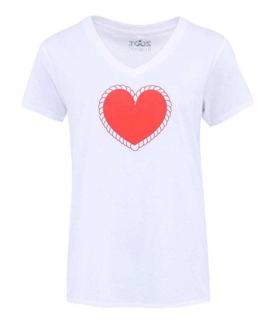 Bílé dámské tričko ZOOT Originál Lemované srdce