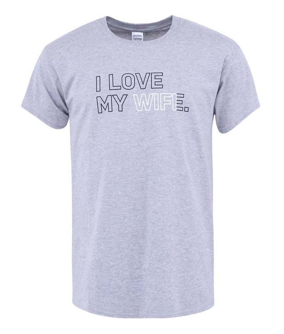Šedé pánské triko ZOOT Originál I Love My Wif...